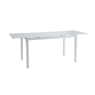 Table verre extensible + 6 chaises blanc FLY