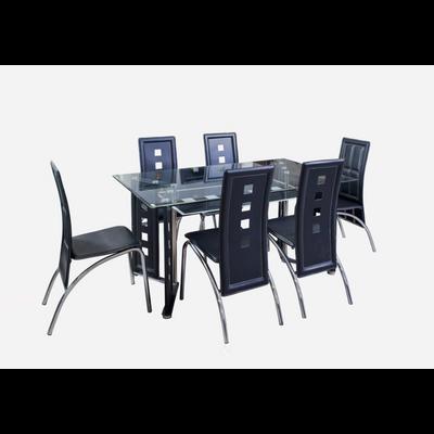Table verre trempé + 6 chaises RIO