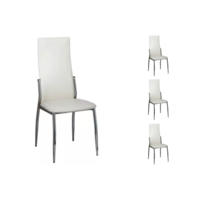 Lot 6 chaises chromé blanc BEA