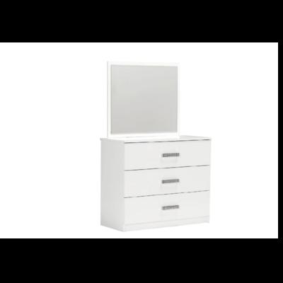 Commode 3 tiroirs miroir blanc PALMA