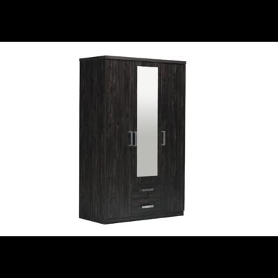 Armoire 3 portes 2 tiroirs miroirs wengé CORDOBA