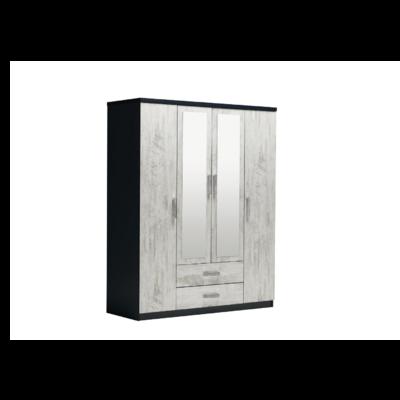 Armoire 4 portes 2 tiroirs miroirs chêne blanc IBIZA