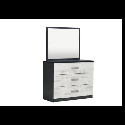 Commode 3 tiroirs miroir chêne blanc IBIZA