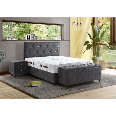 Lit coffre tête de lit capitonnée gris RIMINI