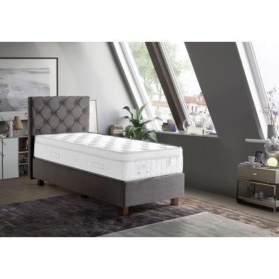 Lit coffre + tête de lit capitonnée taupe 90x190 KARYA