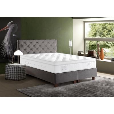 Lit coffre + tête de lit capitonnée taupe 140x190 KARYA