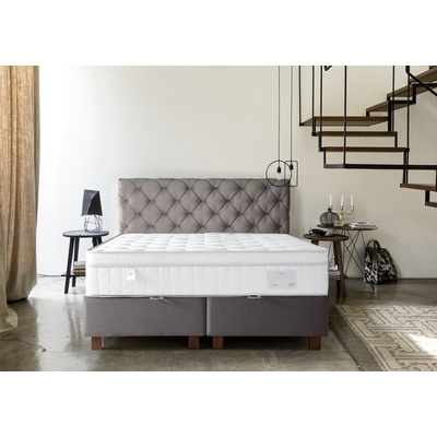 Lit coffre + tête de lit capitonnée taupe 160x200 KARYA