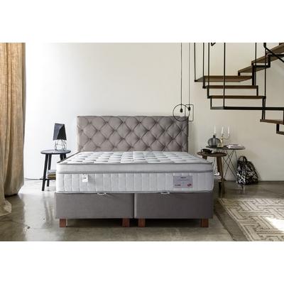Lit coffre + tête de lit taupe + matelas 160x200 PRINCE/KARYA