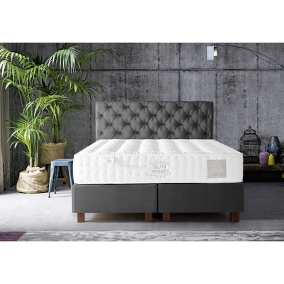 Lit coffre + tête de lit capitonnée gris 160x200 KARYA