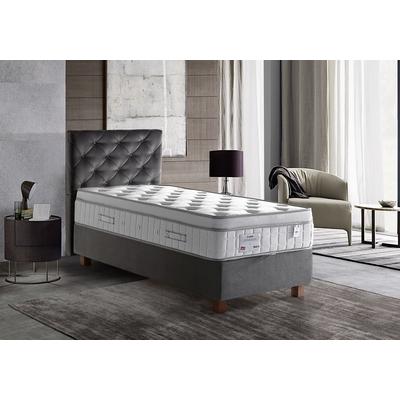 Lit coffre + tête de lit gris + matelas 90x190 PRINCE/KARYA
