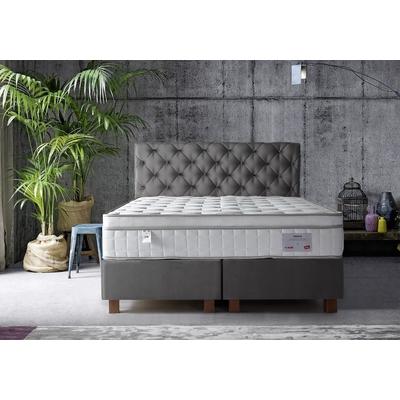 Lit coffre + tête de lit gris + matelas 160x200 PRINCE/KARYA