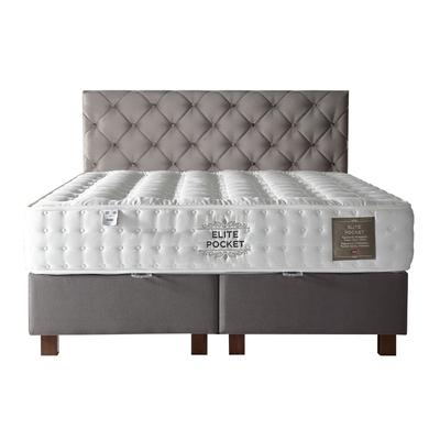 Lit coffre + tête de lit + matelas 160x200 ÉLITE/KARYA Taupe