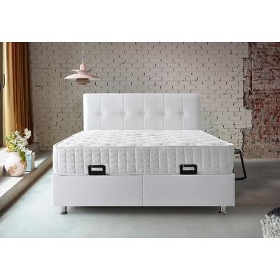 Lit coffre tête de lit capitonnée blanc BARI
