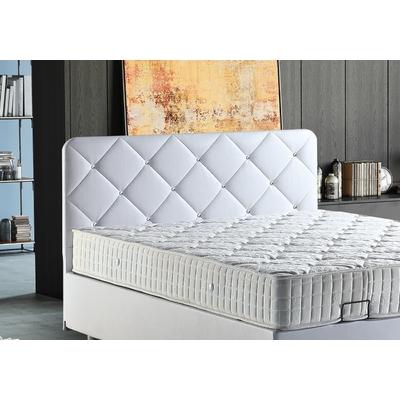 Tête de lit capitonné simili blanc SIENA
