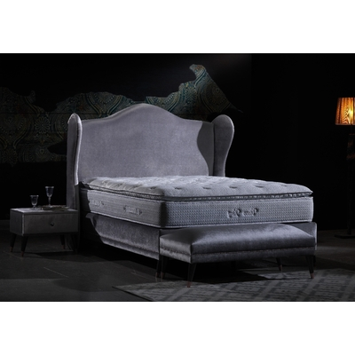 Lit coffre king size velours gris KING