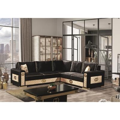 Canapé angle design tissu noir GUGI