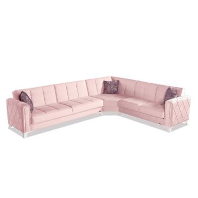 Canapé angle lit coffre rose ICÔNE