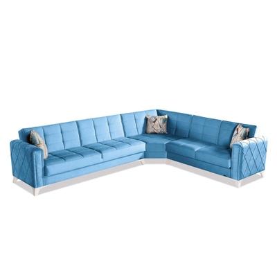 Canapé angle lit coffre bleu ICÔNE