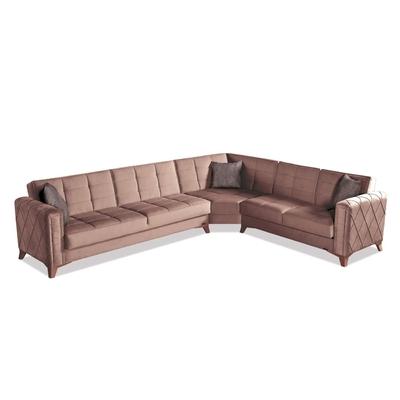 Canapé angle lit coffre marron ICÔNE