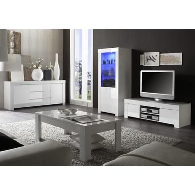 Ensemble meuble TV laqué blanc AMALFI II