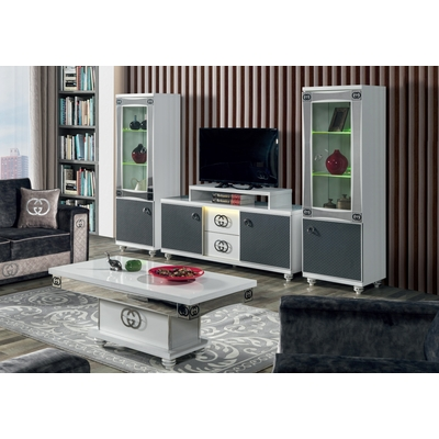 Ensemble mur TV baroque blanc GUGI