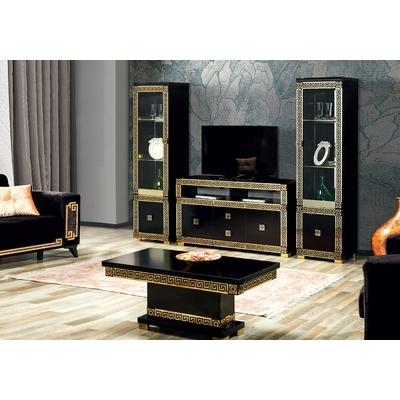 Mur TV noir doré style VERSACE