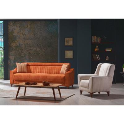Canapé lit tissu daim abricot MABEL
