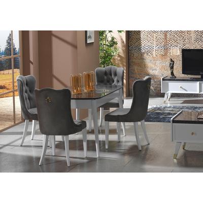 Table + 4 chaises blanc marbré ERVA