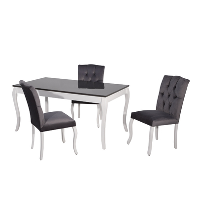 Table + 4 chaises gris BAROK