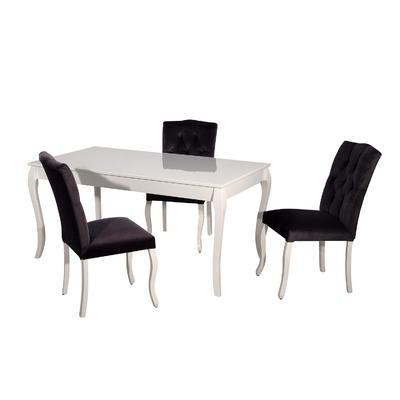 Table + 4 chaises noir BAROK