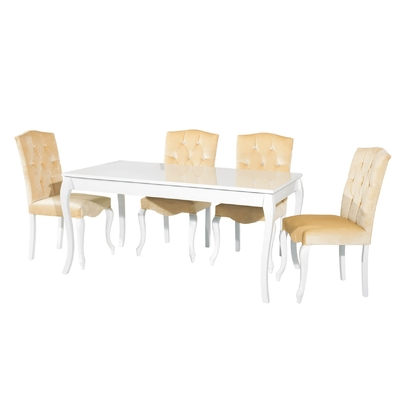 Table + 4 chaises beige BAROK