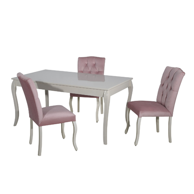 Table + 4 chaises rose BAROK