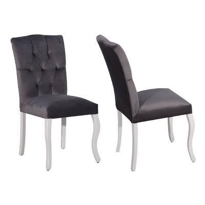 Chaise capitonné gris BAROK