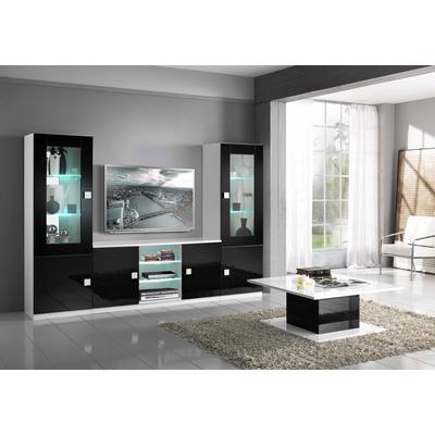 Mur TV laqué blanc noir AURORA
