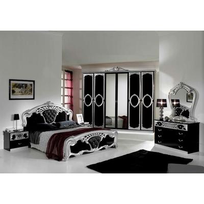 Chambre capitonné noir argent SIBILLA XL