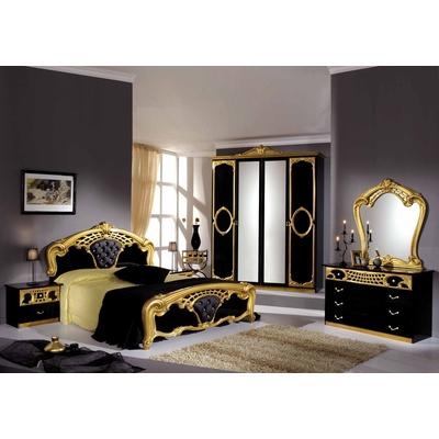 Chambre capitonné noir doré SIBILLA