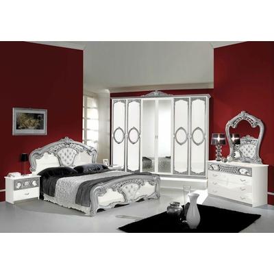 Chambre capitonné blanc argent SIBILLA XL