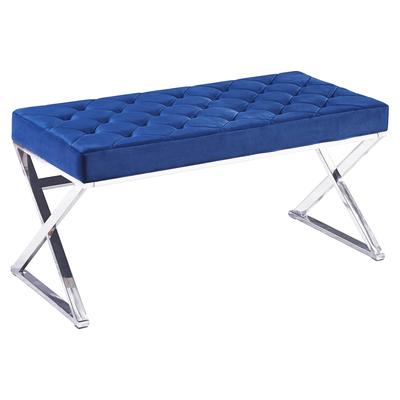 Banc design chromé velours bleu OREA