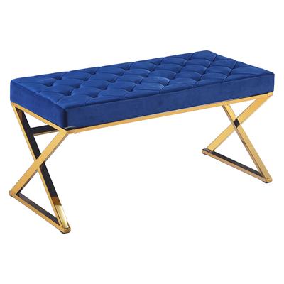 Banc design doré velours bleu OREA