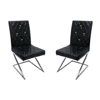 Chaises chromé croco noir AVA