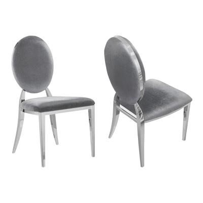 Chaises médaillon chromé velours gris NEO