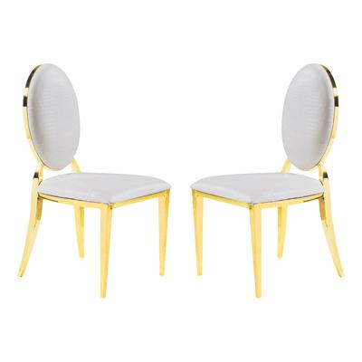 Chaises médaillon doré croco blanc NEO