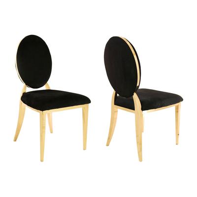 Chaises médaillon doré velours noir NEO