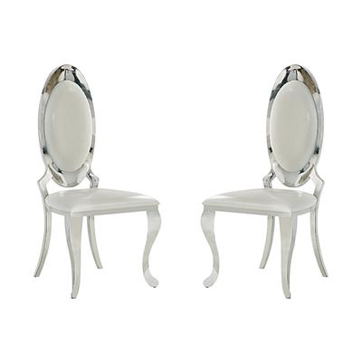 Chaises médaillon chromé blanc ÉVI