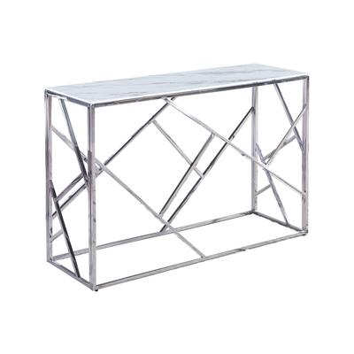 Console design chromé marbre blanc ILÉA