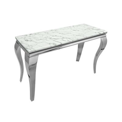Console métal argenté marbre blanc NEO