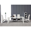 Lot 4 chaises chromé simili blanc ROY