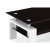 Table basse laqué blanc verre noir TOE-d2