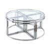Table basse ronde design chromé verre PIO