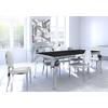 Table chromé noir 4 chaises blanc NEO